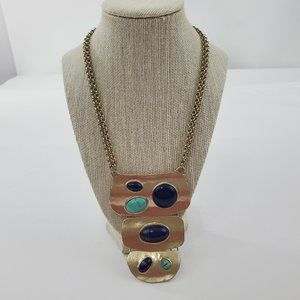 Chicos Statement Necklace Blue Gold Tone Big Chunk